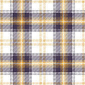 Seamless plaid pattern vector graphic. Tartan check plaid texture background in dark purple, gold yellow, and white for flannel shirt, poncho, blanket, throw, or other modern textile design print.