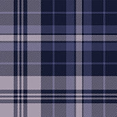 Tartan plaid pattern background vector. Seamless dark check plaid graphic in purple and grey for flannel shirt, blanket, throw, upholstery, duvet cover, or other modern textile design.