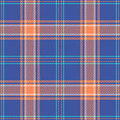Plaid pattern seamless vector background. Summer bright tartan check plaid texture in blue, orange, turquoise, and white for flannel shirt or other modern textile design.