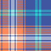 Seamless plaid pattern background. Summer bright tartan check plaid texture in blue, orange, turquoise, and white for flannel shirt, poncho, picnic blanket, or other modern herringbone textile design.