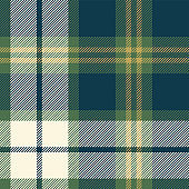 Tartan plaid pattern background. Seamless check plaid graphic in dark blue, green, gold, and off white for flannel shirt, blanket, throw, upholstery, or other modern textile design.