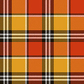Tartan plaid pattern background. Seamless check plaid graphic in bright red, yellow, white, and nearly black for scarf, flannel shirt, blanket, throw, upholstery, or other autumn fabric design.