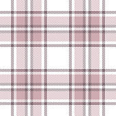 Pink plaid pattern seamless vector graphic. Tartan summer check plaid for poncho, scarf, blanket, or other modern fashion or home textile design. Herringbone woven pixel texture.