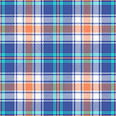 Bright plaid pattern seamless vector background. Multicolored summer tartan check plaid in blue, soft orange, light turquoise, and white for flannel shirt, blanket, or other modern fabric design.