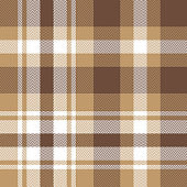 Seamless plaid pattern. Scottish tartan check plaid herringbone background in brown, sand beige, and white for flannel shirt, scarf, blanket, or other modern fabric design.