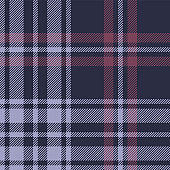 Tartan plaid pattern seamless vector background. Dark check plaid in blue, purple, and pink for flannel shirt, blanket, throw, poncho, or other modern autumn or winter textile design.