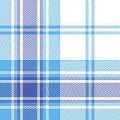 Blue white plaid pattern vector. Seamless monochrome tartan check plaid in bright summer blue for flannel shirt, poncho, blanket, throw, or other modern fabric design. Herringbone pixel texture.