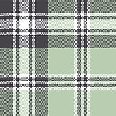 Tartan plaid pattern background. Seamless herringbone check plaid graphic in grey, green, and white for scarf, flannel shirt, blanket, throw, upholstery, or other modern fabric design.