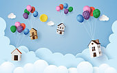 house hanging with colorful balloon