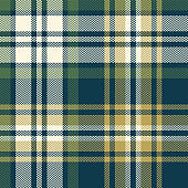 Tartan pattern. Seamless herringbone check plaid graphic in blue, green, gold, and off white for flannel shirt, blanket, throw, upholstery, duvet cover, or other modern fabric design.