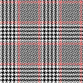 Glen check plaid pattern. Seamless vector plaid background texture in black, red, and white for jacket, skirt, trousers, or other modern autumn or winter tweed textile design.