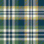 Plaid pattern seamless vector texture. Tartan check plaid background in dark blue, green, and gold for flannel shirt, blanket, throw, duvet cover, or other modern textile design.