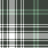 Green check pattern. Seamless tartan plaid in green and white for flannel shirt, blanket, throw, poncho, or other modern textile design. Herringbone woven pixel texture.