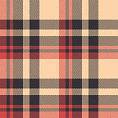Tartan plaid pattern background. Seamless herringbone check plaid graphic in dark brown, bright coral, and beige for scarf, blanket, throw, upholstery, or other modern fabric design.