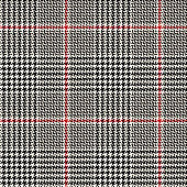 Glen pattern. Traditional seamless hounds tooth check plaid fabric background in black, off white, and red for coat, skirt, trousers, jacket, or other modern autumn or winter clothing fabric print.