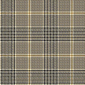 Glen plaid pattern. Classic seamless hounds tooth check plaid texture in nearly black and gold for trousers, coat, skirt, jacket, or other modern winter fashion clothes print.