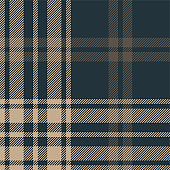 Seamless plaid pattern vector background. Dark tartan check plaid in brown and blue for menswear flannel shirt, blanket, or other modern autumn or winter textile design. Striped texture.