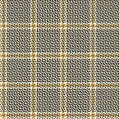 Abstract textile pattern. Seamless glen hounds tooth check in nearly black and gold for winter or autumn jacket, coat, skirt, or other modern fabric print.