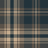 Brown plaid pattern. Seamless dark blue and brown tartan check plaid with herringbone woven pixel texture for flannel shirt, blanket, upholstery, or other modern autumn or winter textile design.