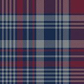 Tartan plaid pattern background. Seamless large striped check plaid graphic in dark blue, bordo red, and grey for scarf, flannel shirt, blanket, throw, upholstery, or other winter fabric design.