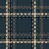Dark plaid pattern seamless vector graphic. Tartan check plaid background texture in blue and brown for flannel shirt, bag, or other modern textile design.