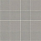 Seamless glen plaid pattern. Hounds tooth check plaid tartan background in grey and off white for traditional jacket, skirt, trousers, or other modern autumn, winter, or spring tweed textile design.