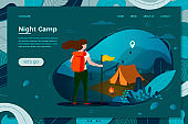 Vector tourist girl with backpack, night camping