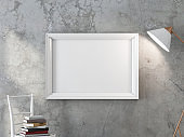 Horizontal White poster frame Mockup hanging on the concrete wall with turned on modern floor lamp