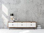 Modern whire cabinet or tv console mockup in empty living room with white floor