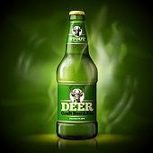 Vector Beer template, green bottle dark background