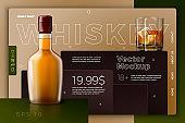 Vector whiskey bottle, glass, modern site template
