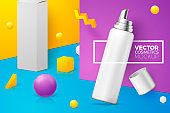 Vector abstract scene with mousse bottle and box