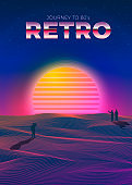 Vector poster template in 80s retro futurism style