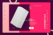 Vector realistic paper box on modern site template