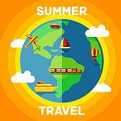 Summer illustration with travel around the globe