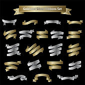 Vector big set of golden and silver ribbons