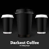 Vector template coffee cups on black background