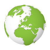 Natural Earth globe. 3D world map with green lands dropping shadows on white globe. Vector illustration