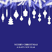 Christmas card with hanging decorations on blue background