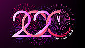 New Year Greeting Card. Christmas. Bright neon colors. Happy new year 2020 inscription. Abstract clock, explosions of fireworks and salute. Vector. Dark background.