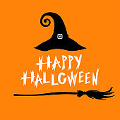 Congratulatory Halloween icon with hat and broom