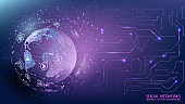 Internet and technology. Global social network. Computer chip. Virtual reality and modern science. Violet futuristic background with planet Earth. uture. Vector.