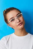 Blue girl in glasses