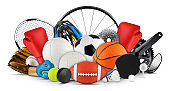 huge collection stack of sport balls gear equipment from various sports isolated white background