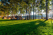 Camping tent on the mountain at Mae Puem National Park in Phayao northern provinces of Thailand.