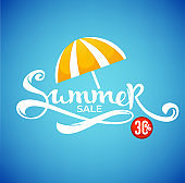 summer sale, cartoon shine vector discount banner template design with lettering composition