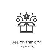 design thinking icon vector from design thinking collection. Thin line design thinking outline icon vector illustration. Outline, thin line design thinking icon for website design and mobile, app development.