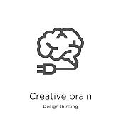 creative brain icon vector from design thinking collection. Thin line creative brain outline icon vector illustration. Outline, thin line creative brain icon for website design and mobile, app development.