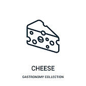cheese icon vector from gastronomy collection collection. Thin line cheese outline icon vector illustration.