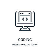 coding icon vector from programming and coding collection. Thin line coding outline icon vector illustration.